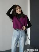 毛衣背心 2020春秋新款韓版寬鬆無袖坎肩毛衣女外穿V領背心馬甲針織衫上衣 愛麗絲