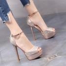 時尚宴會女鞋 涼鞋女2021新款夏水鉆高跟鞋女細跟防水臺超高跟12CM魚嘴水鉆女鞋