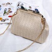 草編包 夏季小包包女新款潮正韓原色夾子手提仿草編包單肩斜背鏈條包