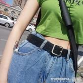 皮帶網紅同款黑色女士皮帶男百搭裝飾寬牛仔褲腰帶韓版褲帶風時尚 晶彩 99免運