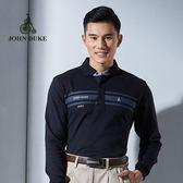 JOHN DUKE約翰公爵厚質保暖經典素色POLO衫 (棉衫  黑)