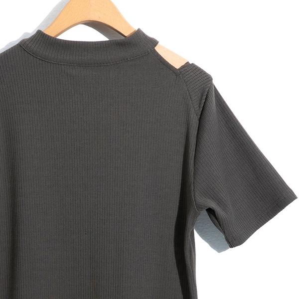春夏出清3折[H2O]肩膀挖洞設計彈性針織洋裝 - 綠/黑色 #0684010