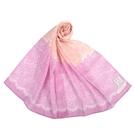 NINA RICCI蕾絲花卉抗UV純綿薄圍巾(粉紅色)989403-F
