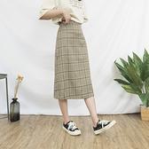 《NEW》韓系女裝 咖啡格紋A字長裙【C0658】韓妞穿搭必備 阿華有事嗎