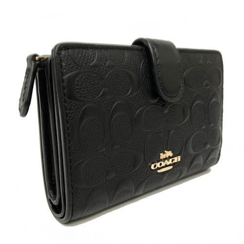 【COACH】經典壓印浮雕C LOGO 皮革中夾證件夾(黑)