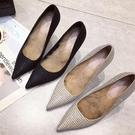 秋冬新品 百搭小清新黑色法式少女高跟鞋女細跟尖頭網紅毛毛鞋