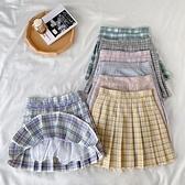 百摺裙夏季新款韓版高腰顯瘦糖果色格子百搭百摺半身短裙女學生裙子 JUST M