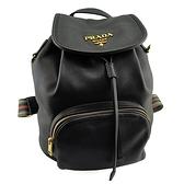 【奢華時尚】PRADA 黑色粒面牛皮條紋背帶束口後背包(八五成新)#25013