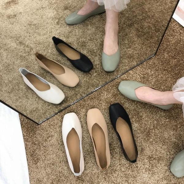 女新款秋鞋單鞋百搭春秋平底淺口黑色上班工作鞋女 新年禮物