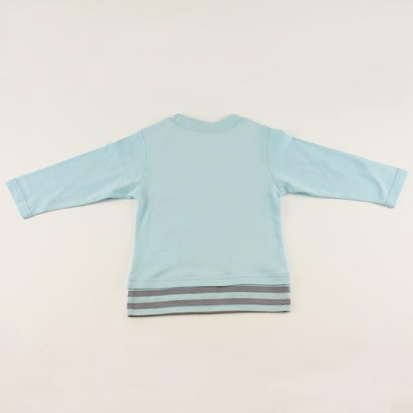 【愛的世界】純棉長袖印圖上衣-水藍/4~6歲-台灣製-  ---秋冬上著