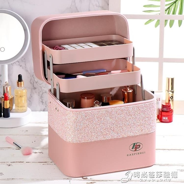 新款便攜大容量超火化妝包簡約韓版手提化妝箱少女心化妝品收納盒 時尚芭莎