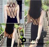 洋裝/性感露背美背連身裙吊帶長裙「歐洲站」