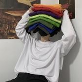 長袖T恤 ins復古基礎款純色秋季打底衫內搭男女長袖T恤【限時八折】