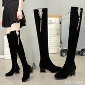 中大尺碼長筒靴 加絨過女顯瘦彈力靴粗跟高跟拉鏈冬季高筒靴子女靴膝上靴  XY9924【KIKIKOKO】