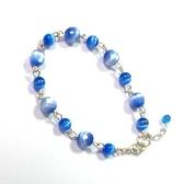 雙色藍貓眼角度珠與圓珠手鍊