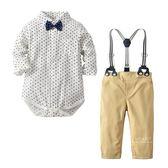 白色愛心領結紳士包屁衣+長褲背帶套裝 連身衣 哈衣 兔裝 寶寶裝