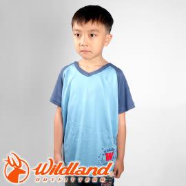 【Wildland 荒野 中童 椰碳繡花排汗衣 水藍】 71672-73/兒童短袖/排汗衣★滿額送
