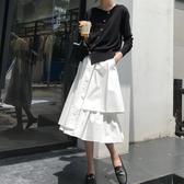 設計感白色不規則半身裙女夏山本風顯瘦胯大中長款a字裙蛋糕裙子 韓國時尚週
