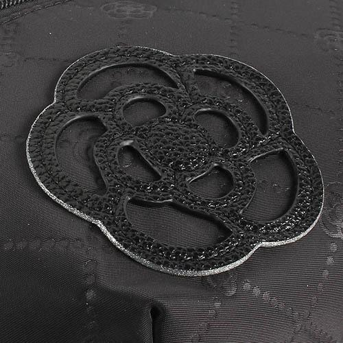 CLATHAS 山茶花吊飾菱格紋尼龍腰包(黑色)201005-10