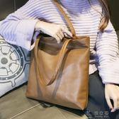 現貨出清新款韓版單肩手提包休閒簡約子母包潮流托特包通勤包女包大包     俏女孩