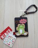 ☆草莓牛奶屋☆日本進口【Pickles the frog小青蛙】EDWIN聯名系列牛仔布車票夾