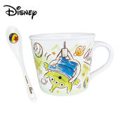 【日本正版】三眼怪 陶瓷 馬克杯 湯匙組 275ml 咖啡杯 寬口杯 玩具總動員 迪士尼 Disney - 084852