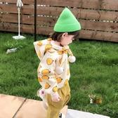 兒童連帽T恤女 女寶寶加絨連帽T恤韓版兒童水果印花洋氣帽衫小女孩加厚上衣秋款