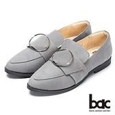 【bac】都會新秀-尖頭大圓皮帶扣環樂福平底鞋(灰)
