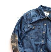 秋日繫復古大水滴撞色襯衫男 水洗做舊袖口迷彩拼接牛仔襯衫