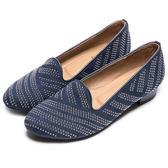 DIANA 時尚個性--經典金屬鉚釘普普風羊絨布平底鞋-深藍★特價商品恕不能換貨★