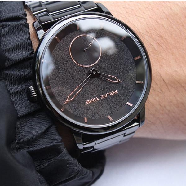 RELAX TIME 漂浮系列 Floating IP黑電鍍x玫瑰金 加贈快拆真皮錶帶 不銹鋼 男錶 RT-83-3