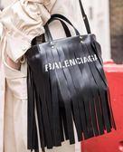 ⚡️新低價 ■專櫃65折■ Balenciaga 全新真品流蘇 Laundry XS 小牛皮兩用托特包 黑色
