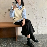 針織背心 韓版學院風V領麻花針織馬甲背心女新款學生慵懶寬鬆毛衣 夏季狂歡