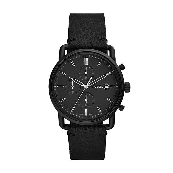 【Fossil】Commuter暗黑騎士三眼計時真皮摩登腕錶-低調黑/FS5504/台灣總代理公司貨享兩年保固