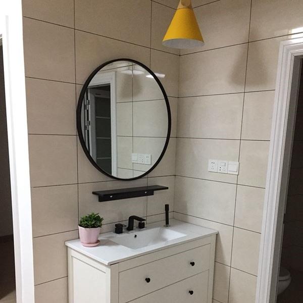 壁挂鏡圓形鏡子化妝鏡浴室鏡圓鏡裝飾鏡試衣鏡挂鏡創意鏡 店慶降價