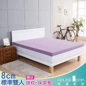 House Door 吸濕排濕 8cm乳膠記憶床墊雙享組-雙人5尺(丁香紫)