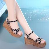韓版坡跟涼鞋女夏季女款高跟鞋防水臺厚底鬆糕鞋粗跟羅馬鞋女鞋子 【PINK Q】