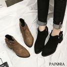 PAPORA尖頭側拉鍊短靴KYK7黑/卡其(偏小)