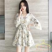 雪紡連身裙 2020夏季新款小個子碎花洋裝 法國小眾V領A型顯瘦超仙裙子女 萬聖節狂歡價