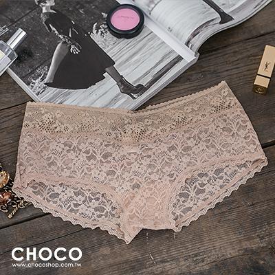 Choco Shop-偷心戀人‧高質感蕾絲透膚彈性內褲(膚色) S~L