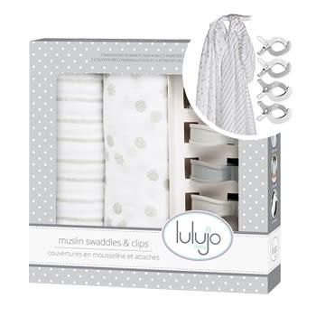 【愛吾兒】加拿大lulujo 禮盒系列-嬰兒包巾雙入組 淺灰 精美盒裝彌月禮最佳首選