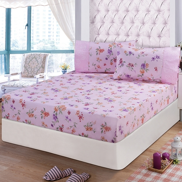 【FITNESS】精梳棉單人床包+枕套二件組-穠芳(粉)_TRP多利寶