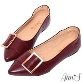 Ann'S隨性感的女人味-玫瑰金方扣全真皮尖頭平底鞋-酒紅