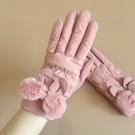 秋冬季加絨手套羽絨棉女士加厚雙層防風騎車防滑春天可愛保暖韓版