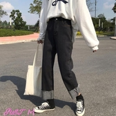 特賣寬褲女秋裝韓版女裝高腰顯瘦捲邊直筒褲復古闊腿牛仔褲寬鬆學生休閒褲