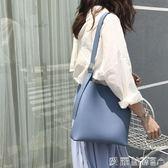 chic簡約百搭素色大容量磁扣PU子母包側背水桶包斜背女包 【七月特惠】