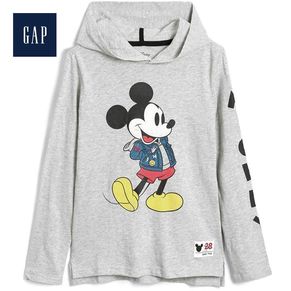 Gap男童Disney迪士尼系列米奇連帽T恤497402-亮麻灰色