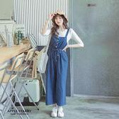 女孩連身四釦伸縮綁帶軟料吊帶褲-時尚藍 蘋果星沙