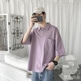 POLO衫  Polo衫男純色復古潮流夏天青少年韓版寬鬆短袖T恤潮『優尚良品』