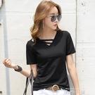 小心機短袖t恤女2020新款夏季白色V領寬鬆韓版黑色上衣體恤潮 米娜小鋪